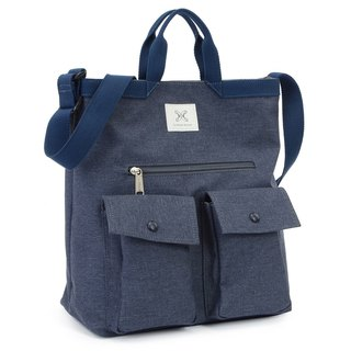LaPoche Secrete: Boy-friendly Wenqing Pouch _ Tannin Blue Water Repellent Dual-use Canvas Bag _ Can shoulder-mounted A4