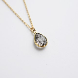 Black Rutilated Quartz Teardrop Necklace - 14K Gold Filled