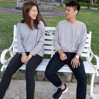 As long as you have loose shoulders after the arc-shaped design Top - Gray | 100% organic cotton | Mother and daughter lovers installed sisters installed boudoir Korea Slim comfortable comfortable long-sleeved texture