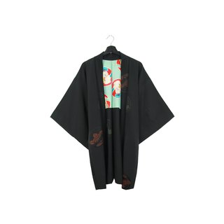Back to Green-Japan brought back feather weaving lining characters /vintage kimono
