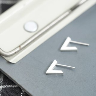 V Triangle triangular earrings silver 925