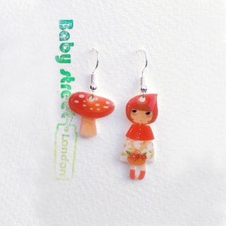 Little Q Little Red Riding Hood Original Illustration Fairy Tale Character with Red Mushroom/Hook Earrings