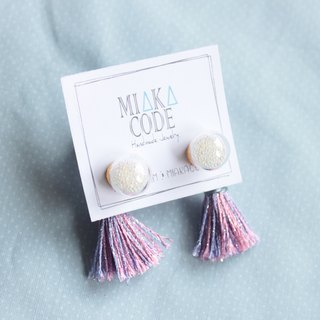 10mm Glass bubble earrings/ear-clips with mixed colour tassels (Lilac)