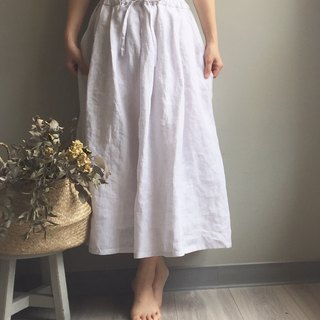 / Snow Forest / Lychee White Air Linen Drawstring Dress 100% Hemp
