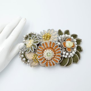 Japan Japan Minami grass green handmade hook cold daisy small flower bud bunch brooch pin heart 襟