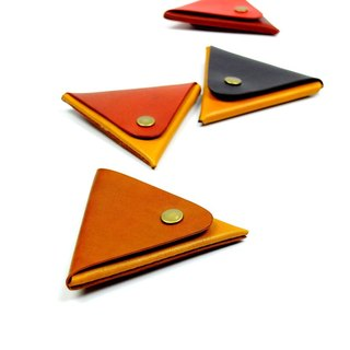 [DOZI leather hand-made] double-colored triangle purse leather for dyeing free color