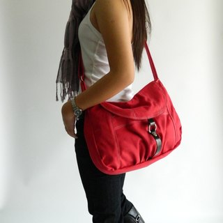 Red messenger canvas bag / shoulder bag / diaper bag - Claire -no.103