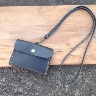 Horizontal identification card. ID card holder, leisure card holder, card holder, hand-stitched, leather leather black