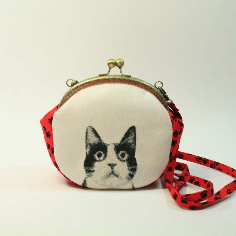 刺繡 16cmU型口金斜背包04-黑白貓