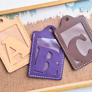 Initial letter A | B | C Letter ID sets of well-stitched leather material bag card holder name card holder