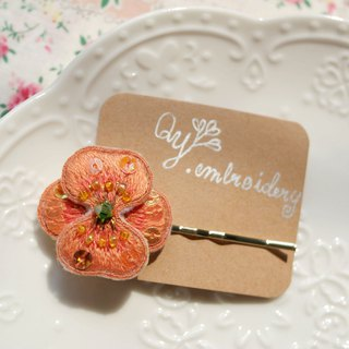 Qy's embroidery Stereo Orange Flowers Handmade Embroidery Hairpins Summer Hair Accessories Hairpins