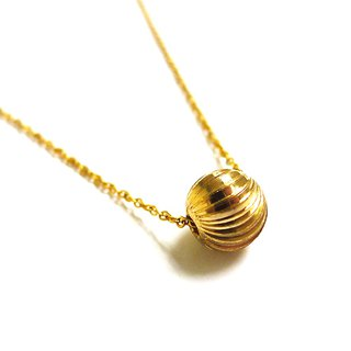 Ficelle | handmade brass natural stone necklace | [cut the ball] Brass 18K gold clavicle chain
