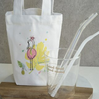 Eco-Friendly Carry On Canvas Bag x Glass Curved Straw (2 pcs)