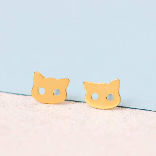 Cat Earrings in Brass with Yellow Gold plating