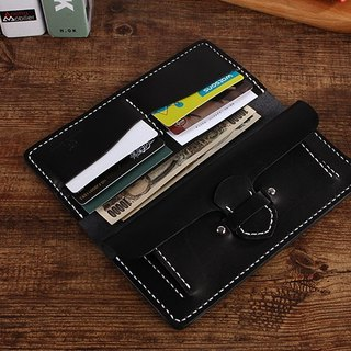 [Cut line] Italian vegetable tanned leather handmade leather ladies wallet long clip 002 black