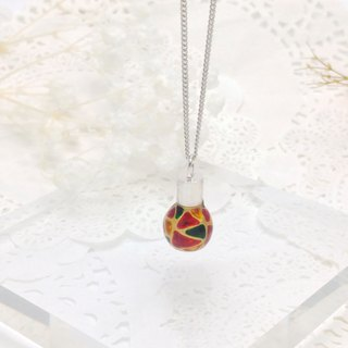 Glass-painted Light Bulb Sterling Silver Necklace 16 inch