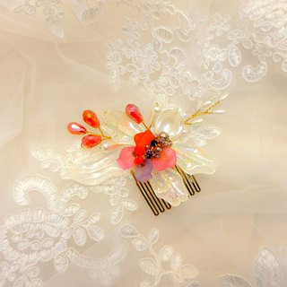 Wear a happy decoration Jiao Ruo Chunhua series - the bride comb. French comb. Buffet wedding - red like