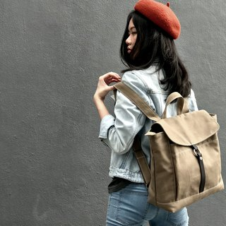 Travel canvas backpack - Leather School backpack - Tanya in Cappuccino (no.102)