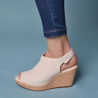90122 Fish mouth wedge shoes whitish