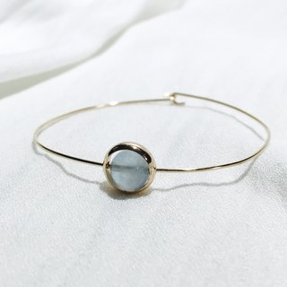 7mm。Bangle。14Kgold。Aquamarine