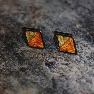 Double-sided Lawrence Soft Stylus Earrings - Textured Gold X Textured Tangerine