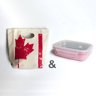 [Goody Bag]fluf-Maple Leaf Country Lunch Bag + Kangovou Stainless Steel Double Layer Lunch Box