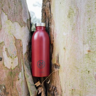 New 24Bottles - Clima Bottle Burgundy (500ml) - Stainless Steel Insulated Water Bottle - 24 hours for ice protection and 12 hours for insulation
