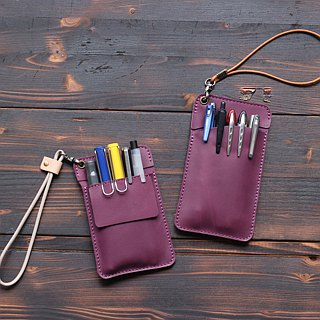Leather doctor robe pencil bag │ pocket type pencil bag │ purple
