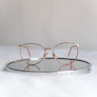 Heshui Mountain - Kagawa socialite pink sands gold-rimmed engraved oval glasses / glasses