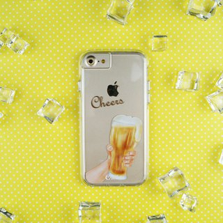 Two in one transparent shatter-resistant mobile phone shell [beer toast]