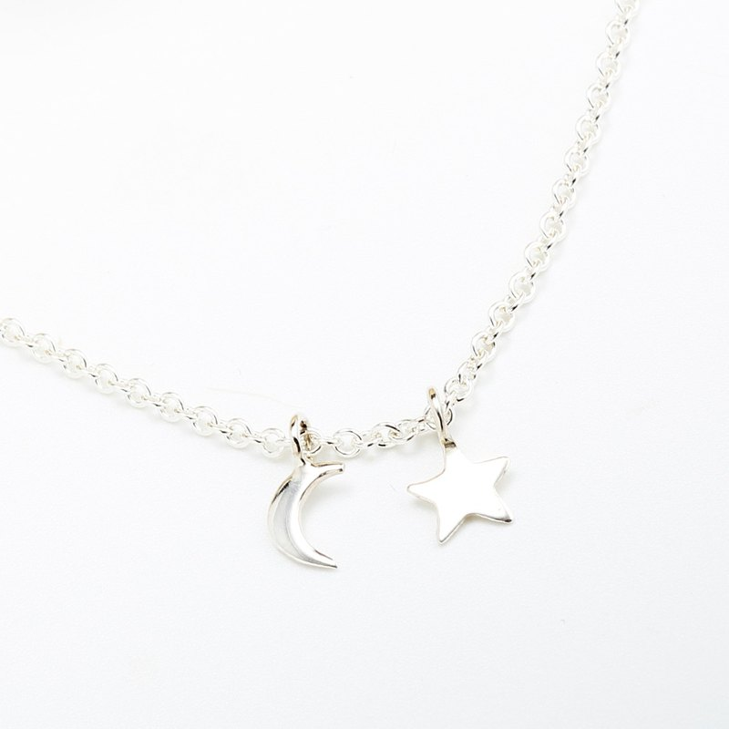 Moon and star s925 sterling silver necklace Valentine's Day gift