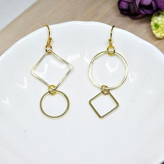 * _ * Asymmetric geometry alloy hook earrings - asymmetrical style -