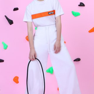 ARTERY Lachlan sleeve Ribbon T-SHIRT white orange / light blue