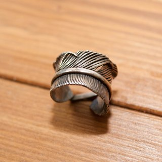 Indian handmade sterling silver feather ring