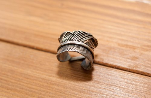 Dreamstation leather 鞄 Institute, Indian handmade sterling silver feather ring