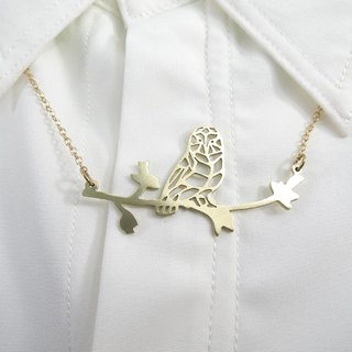 Owl geometric with branch necklace From WABY