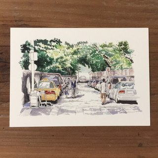 Movie & Travel Illustration Postcard - Taiwan Street View
