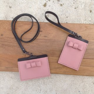 Straight bow identification card. ID card holder, leisure card set hanging neck hand-sewn lanyard leather fog pink