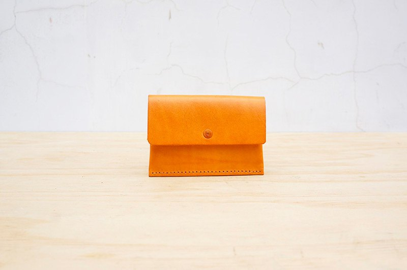 New leather の double-layer business card holder \ wallet (customizable lettering)