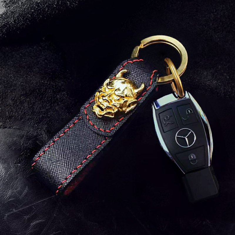 Leather Keychain, Vintage Copper Key Ring 【Free Engraving English Name】