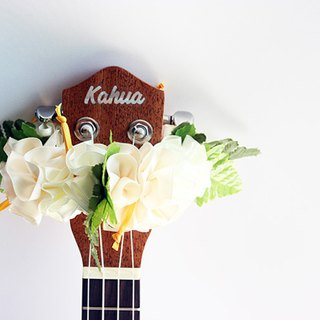 ribbon lei for ukulele (white hibiscus) / ukulele strap / ukulele ribbon /