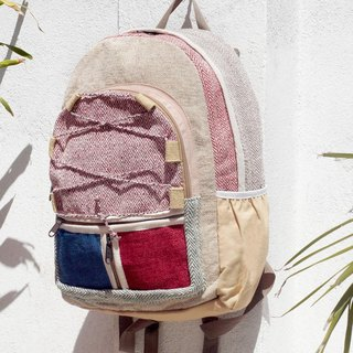 Valentine's Day Limit a hand-made cotton and linen stitching design backpack / shoulder bag / national mountaineering bag / patchwork package - red blue color forest ethnic backpack