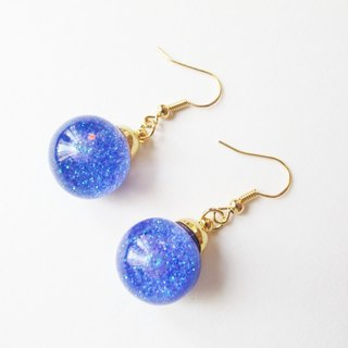 * Rosy Garden * Galaxy purple glitter water inside glass ball earrings