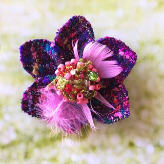 Corsage brooch No.4  corsage brooch accessory tweed beads