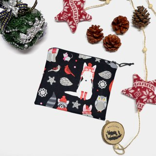 Delightful winter woodland animals Small Zippered Bag / Catch All Bag stores charger cords/ cosmetic bag / Zippered Pouch / Small Pouch / coin purse / storage pouch / earphone holder / bag tidy