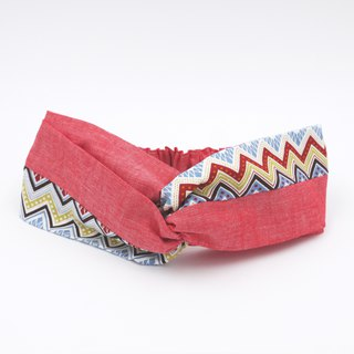 /Handmade turban headband/ Red mix chevron