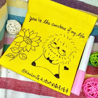 KaaLeo Hand Painted Drawstring Pocket - Lion Lion ライオン