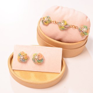 Three-dimensional embroidery flowers bracelet ear acupuncture earrings group