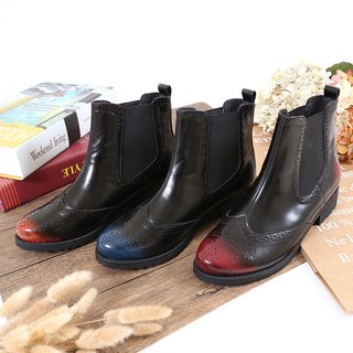 Booties Aurora dancing European and American fashion two-color brush color leather Oxford boots soft air cushion bottom motorcycle boots
