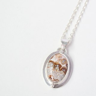 Crazy lace agate sterling silver braid Crazy lace agate pendant